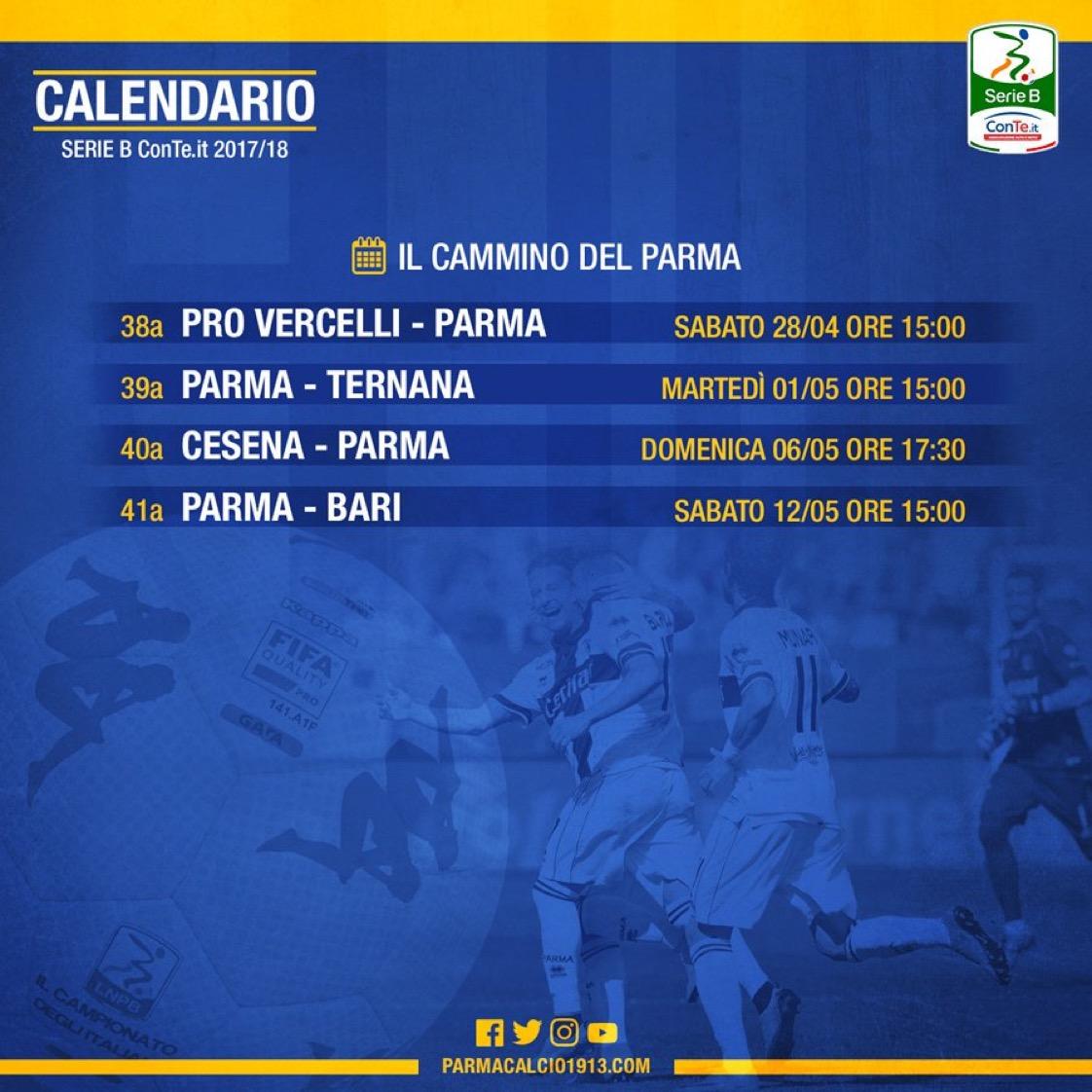 Calendario Serie B Bari.Parma Il Calendario Fino Alla 41esima Col Bari Sabato 12