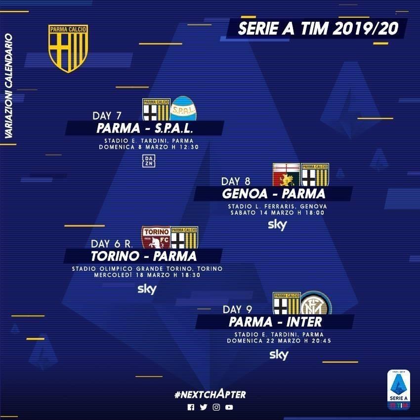 Parma Calcio Ecco Il Calendario Aggiornato Spal Genoa Torino E Inter Parmapress24